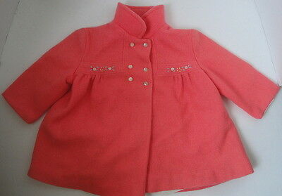 Child's Vintage Coral Pink Double Breasted Lined Coat C24