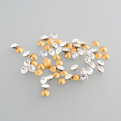 Glass Crystal mit Gold foil LOT (100 Pieces) 3,2mm Round / BOX 4 (5)