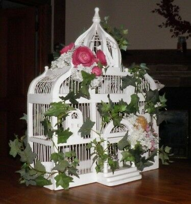 Vintage Victorian Wood & Wire White Palace Wedding Gift Card Birdcage
