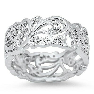 Antique Filigree Victorian Eternity CZ .925 Sterling Silver Ring Sizes 5-12