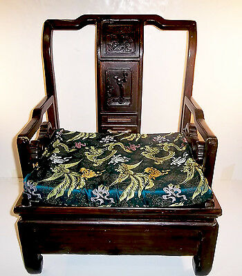 Antique Chinese Qing Dynasty era carved hardwood arm armchair with Geisha motif