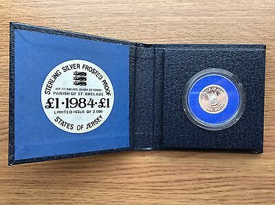 1984 £1 Silver PROOF Jersey Parish of St Brelade One Pound Coin, Original Case