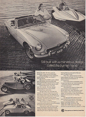"""1973 MG MGB Convertible MG-TC & Speed Boat photo """"You are Part of the Car"""" Ad"""