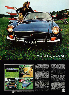 """1971 MG MGB/GT Coupe photo """"Thinking Man's GT"""" vintage print ad"""
