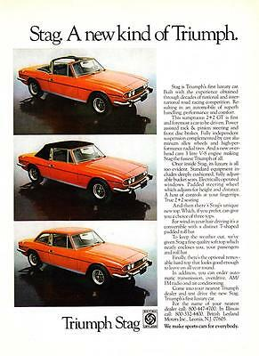 "1973 Triumph Stag 2+2 GT 3 photo ""Its Luxury is Evident"" vintage promo print ad"