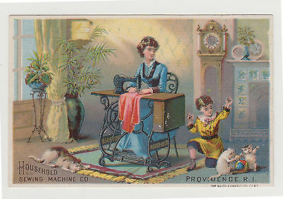 Household Sewing Machine Co Trade Card Child, Kittens, Mother