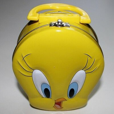 New Tweety Bird Trinket Keepsake Tin Box Purse W Handle Collectors Box