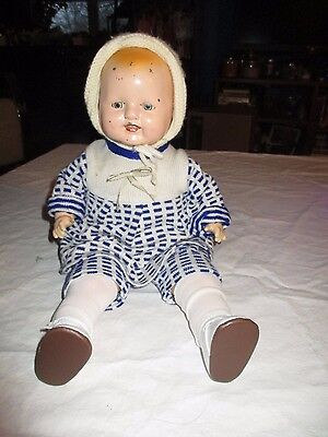 Vintage Tin Head Stuffed Body Composition Arms Doll Boy Sleep Eyes 17""
