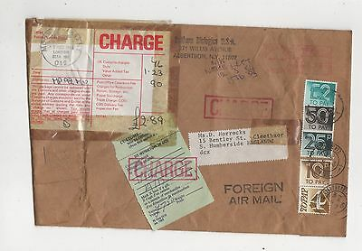 £2.89 Charge Marks Postage Dues 1984 Cover Albertson NY USA to Cleethorpes 407b