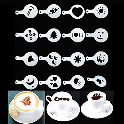 Fashion 16X Creative Nice Coffee Barista Stencils Template Strew Pad Duster Art