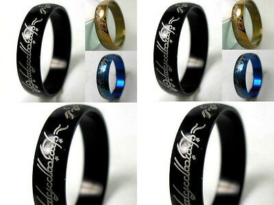 wholesale 100pcs 6 mm black blue gold Lord of the Rings Stainless Steel Ring
