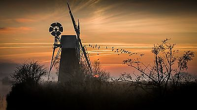 Norfolk Broads Windmill East Anglia Landscape Canvas Pictures Wall Art Prints