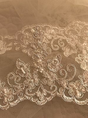 Gorgeous French Lace Ivory Chapel Length Wedding Veil & Hair Attachment