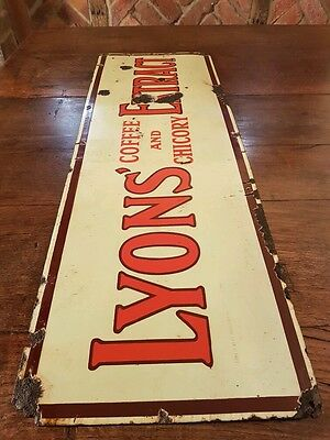 Vintage Lyons enamel advertising sign collectable antique old not double sided