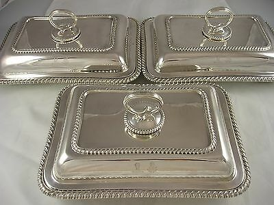 High Quality Set 3 1912 Crested Goldsmiths Silver Entree Dishes 4609 grams