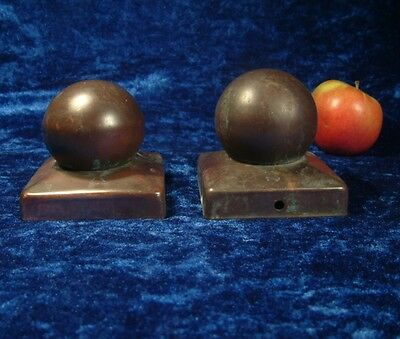 Vintage Pair Arts And Crafts Copper Stair Newel Post Finials / Caps