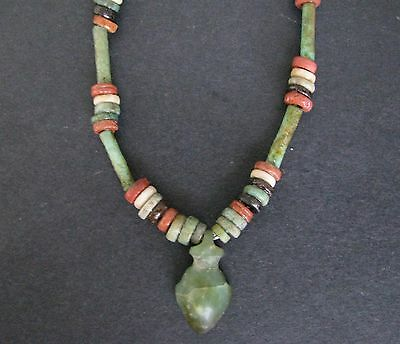 NILE  Ancient Egyptian Heart Amulet Mummy Bead Necklace ca 1200 BC