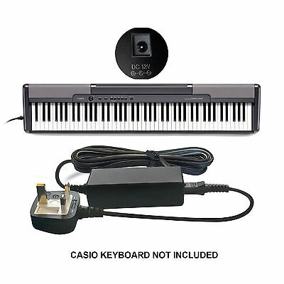 DC 12v 12 VOLT Power Supply Adapter for Casio WK-1630 + WK-1800 Keyboard Piano