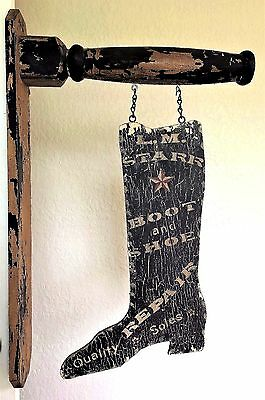Vtg Painted Wooden Boot Shoe Trade Sign, Silhouette, Double-Sided LM Starr