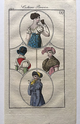 1808 Costumes Parisiens Journal Des Dames French Regency Fashion Plate Hand Col