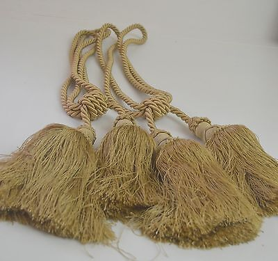 "Pair Of Beautiful Large Designer ""Antique"" Gold Ropes And Tassels Ss291"