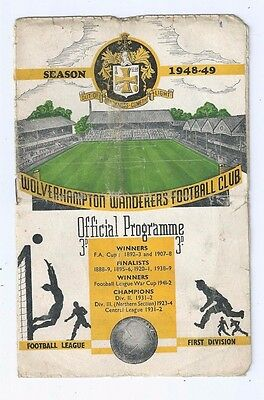 Programme Wolverhampton Wanderers V Chesterfield FA Cup Third Round Jan 8 1949