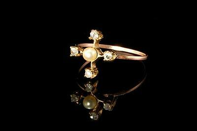 Antique Victorian 10K Gold Diamonds Pearl Ring  (120416045)