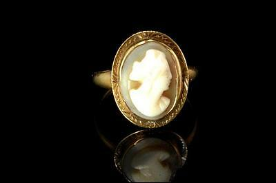 Antique Victorian 14K Gold Carved Cameo Girl Ring  D120416011