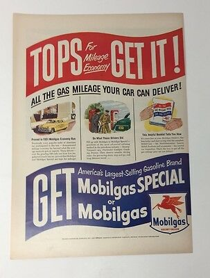 Original Print Ad 1951 MOBILGAS Special Flying Horse Tops for Mileage