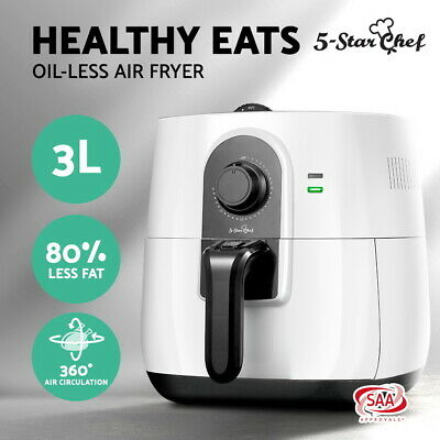 NEW 3L Air Fryer 5 Star Chef Low Fat Oil Free Rapid Deep Cooker Kitchen Recipe