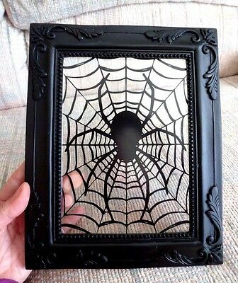 New Victorian Black Glass Spider In Web Picture Wall Hanging Halloween Decor