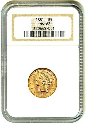 1881 $5 NGC MS62 - Liberty Half Eagle - Gold Coin