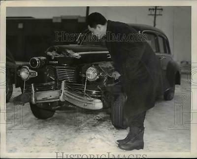 1945 Press Photo President Harry Truman's Car After Wreck in Kansas City