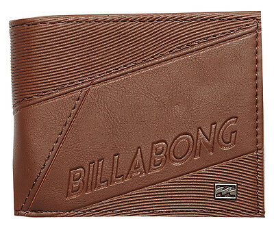 "Brand New + Tag Billabong Mens / Boys Tri-Fold Wallet ""slice"" Chocolate Brown"