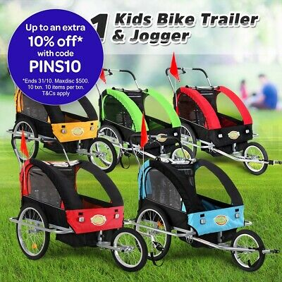 Kidbot 2 IN 1 Portable Bicycle Trailer Pram Stroller Safety Kids Children Jogger