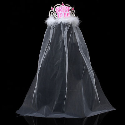 Bride to Be Tiara White Veil Hen Night Party Bridal Shower Decor Accessory 1Pcs