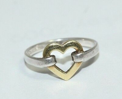 Tiffany and Co 18ct Yellow Gold and Sterling Silver Heart Ring Size M 1/2