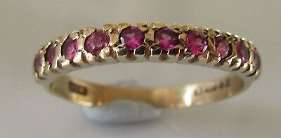 Vintage 9Ct Yellow Gold Multi Ruby Half Band Ring Size M.