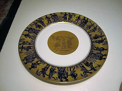 Fancy Heinrich Co Bavaria Ancient People Decorated In Kobalt Over Gold Plate