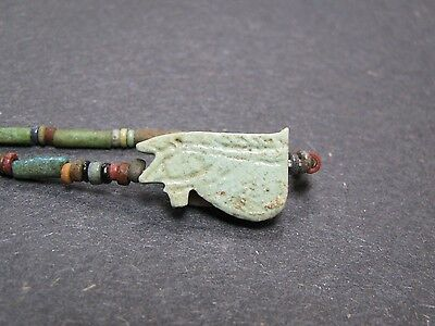 NILE  Ancient Egyptian Eye of Horus Amulet Mummy Bead Necklacae ca 600 BC