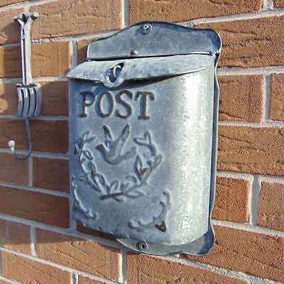 Metal Wall Mounted Post Letter Mail Box Vintage Outdoor Shabby Ornate Chic Bird