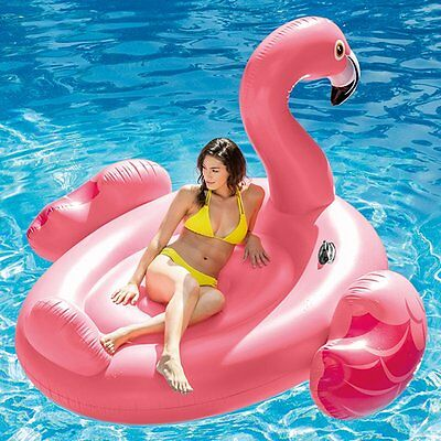 Intex Giant Pink Inflatable Flamingo Pool Float Island Ride On Lounger Lilo