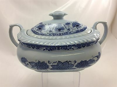 Adams Wedgwood Blue Butterfly ironstone china twin handle vegetable tureen