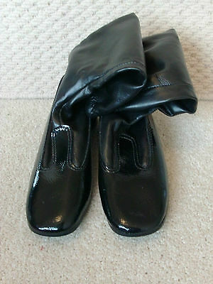 vintage original 1970s girls black pvc boots made in hong kong by dunlop size 2