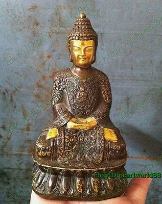 Chinese Archaic Red Bronze Happy Buddha lucky Statue 13.5cm