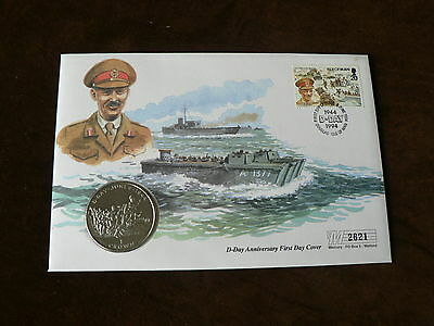 1994 Isle of Man Crown Coin Cover, D-Day, WWII, General Miles Dempsey