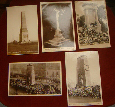 5 Vintage WW1 Real Photographic Postcards Of War Memorials Early 1920s