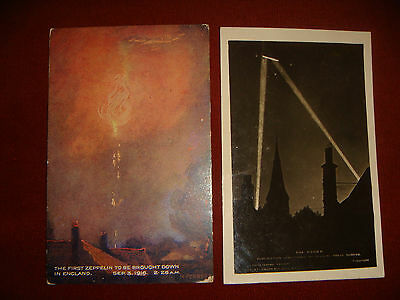 Vintage WW1 Real Photographic Postcard Of Zeppelin Raid & Printed One Similar