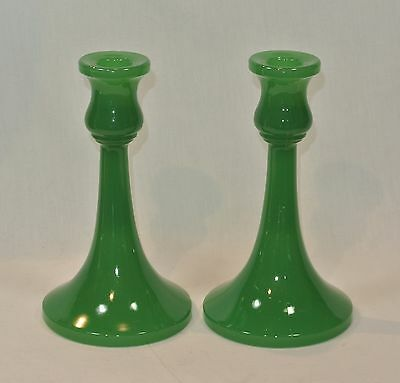Vintage JADITE GREEN Glass CANDLESTICKS Pair 7 inches