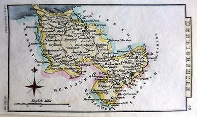 WALES  DENBIGHSHIRE  BY LEIGH / HALL HAND COLOUR GENUINE ANTIQUE MAP  c1826